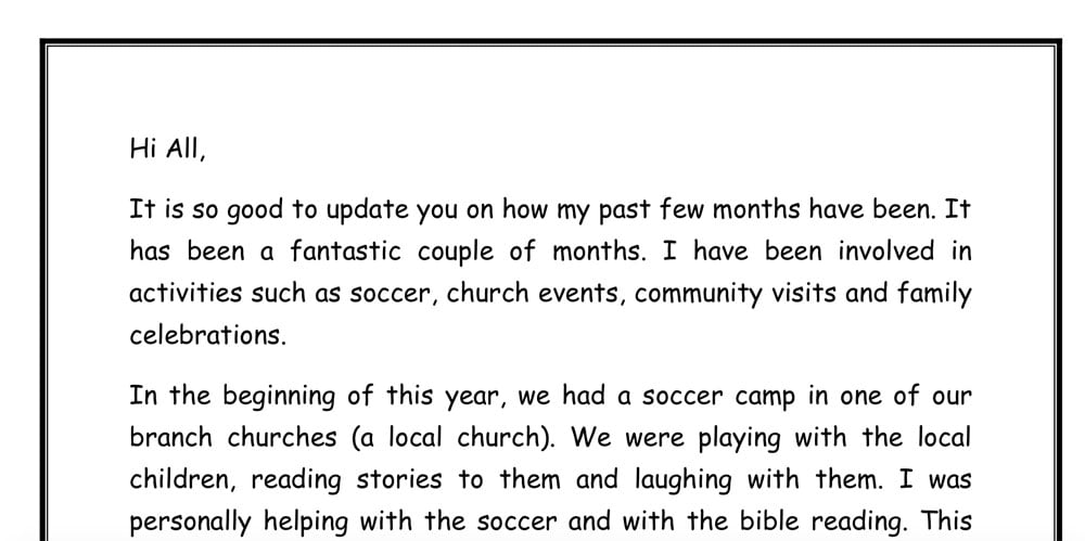 A sample of a letter from a sponsored young person